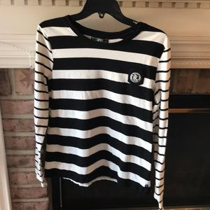 Women's Lauren black white stripe logo shirt XL